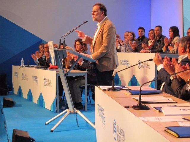 El presidente del PP nacional, Mariano Rajoy, en el Congreso del PPRM