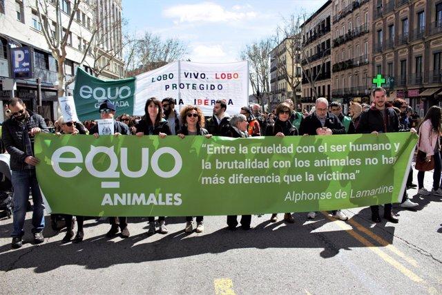 Manifestación en defensa del lobo ibérico