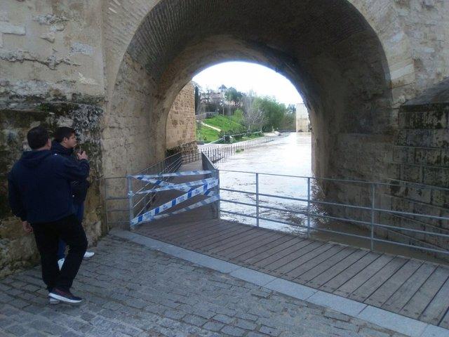 Precinto en la pasarela bajo el Puente Romano de Córdoba