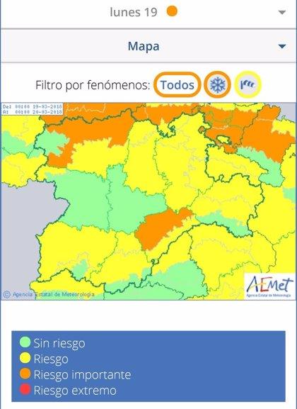 Alerta por nevadas en carreteras del Estado en Ávila, Burgos, Palencia, Salamanca, Segovia y Soria