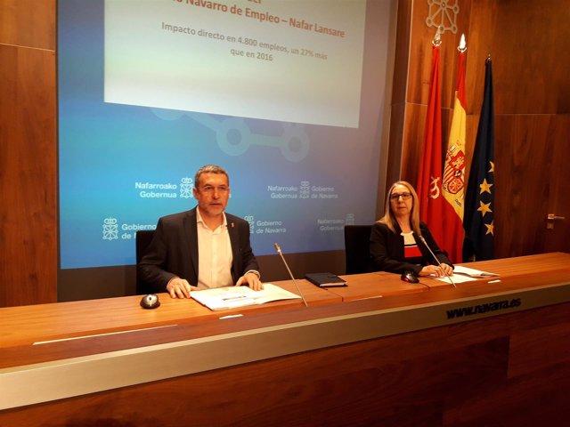 Miguel Laparra, vicepresidente del Gobierno de Navarra, y Paz Fernández, del SNE