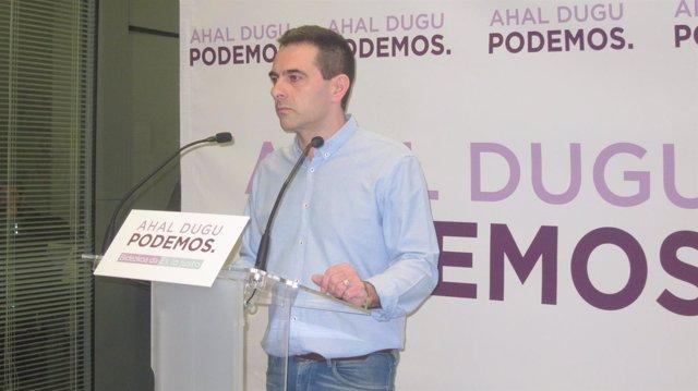 Andeka Larrea (Podemos Euskadi), en rueda de prensa este lunes en Bilbao