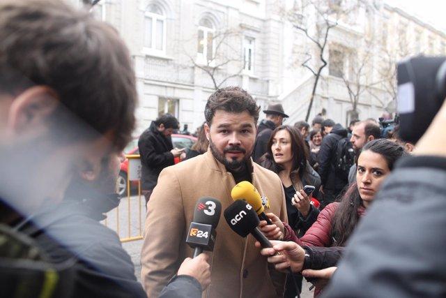 Gabriel Rufián en el Supremo por la comparecencia de Junqueras
