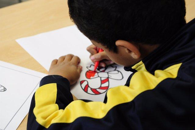 Niño, clase, alumno, pintar, escuela, colegio, dibujo, dibujar