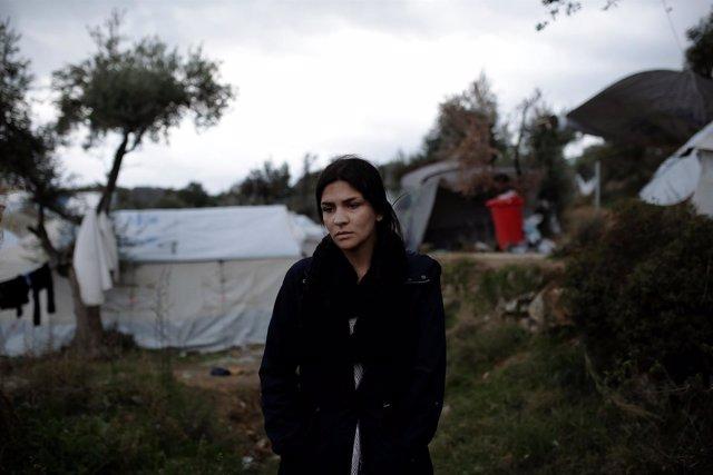 Una refugiada iraquí en un campo improvisado cerca de Moria