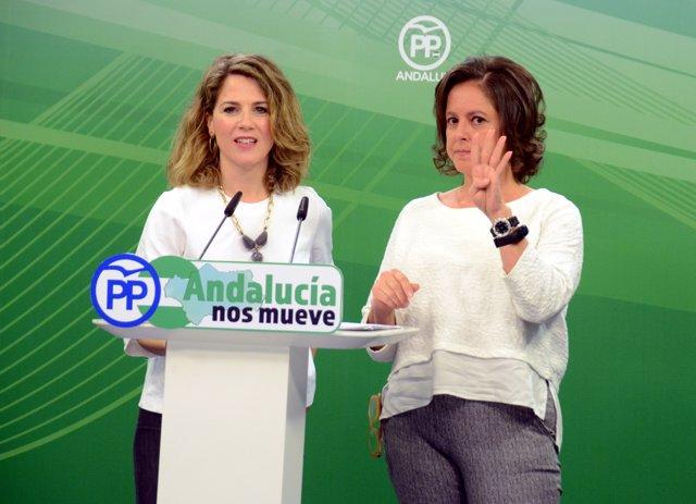 Ana Mestre y Catalina García, del PP-A, en rueda de prensa este lunes