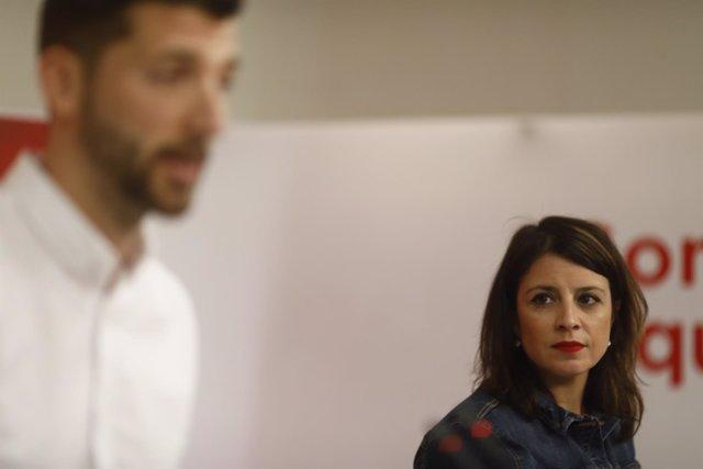 Rueda de prensa de Adriana Lastra y Omar Anguita en la sede del PSOE