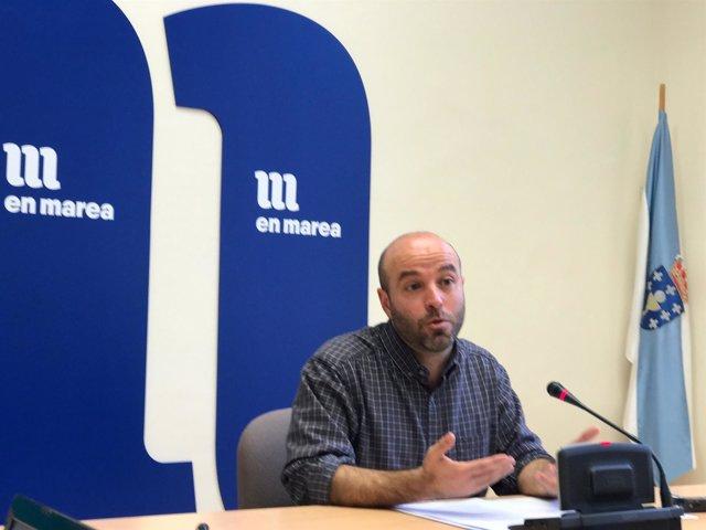 Luís Villares, portavoz parlamentario y líder de En Marea, en rueda de prensa