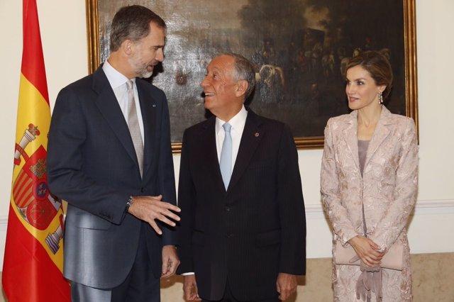 Encuentro de los Reyes con el presidente de Portugal, Marcelo Rebelo de Sousa