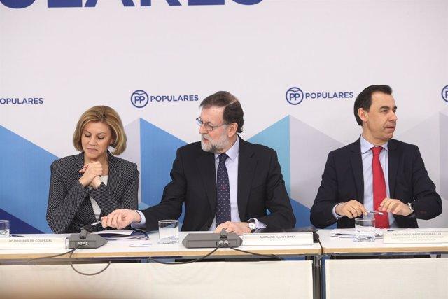 Cospedal, Rajoy y Fernando Martínez Maillo en el Comité Ejecutivo del PP