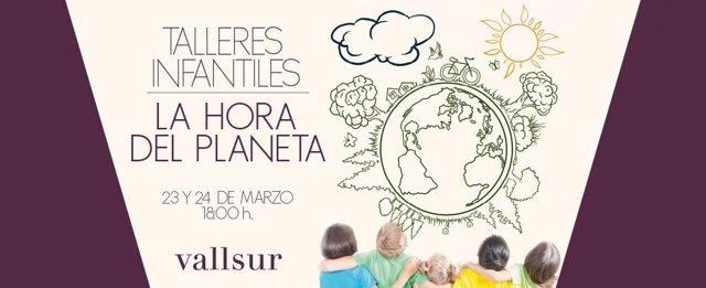 Cartel de la Hora del Planete y talleres para niños de Vallsur 19-3-2018