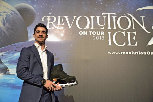 Javier Fernández en la presentación del espectáculo Revolution Ice