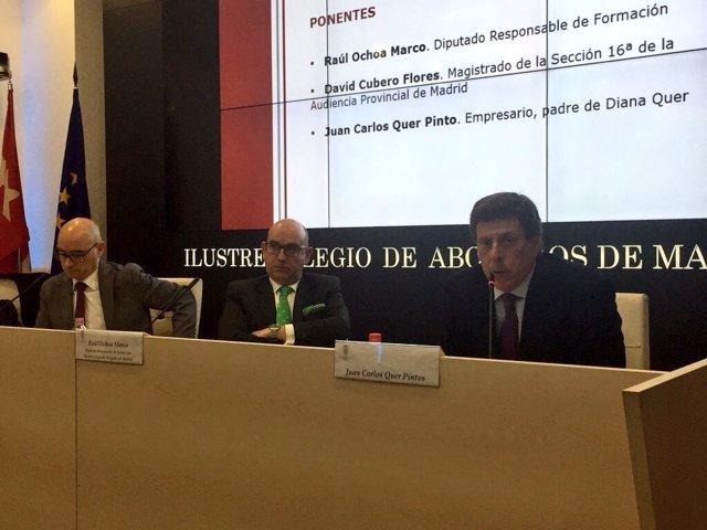 Juan Carlos Quer, en un acto en el Colegio de Abogados de Madrid