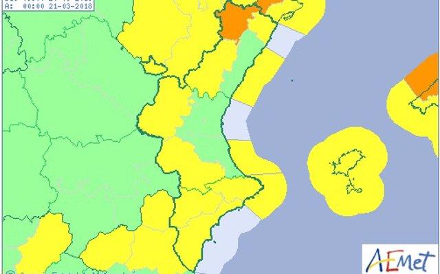 La Comunitat Valenciana está este martes en aviso por viento que puede alcanzar rachas de 100 km/h