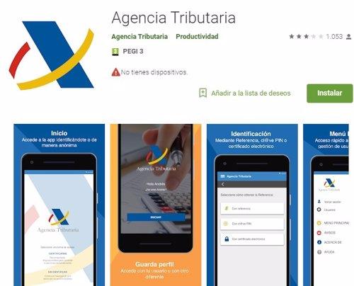 Aplicación oficial de la Agencia Tributaria en la tienda de Google