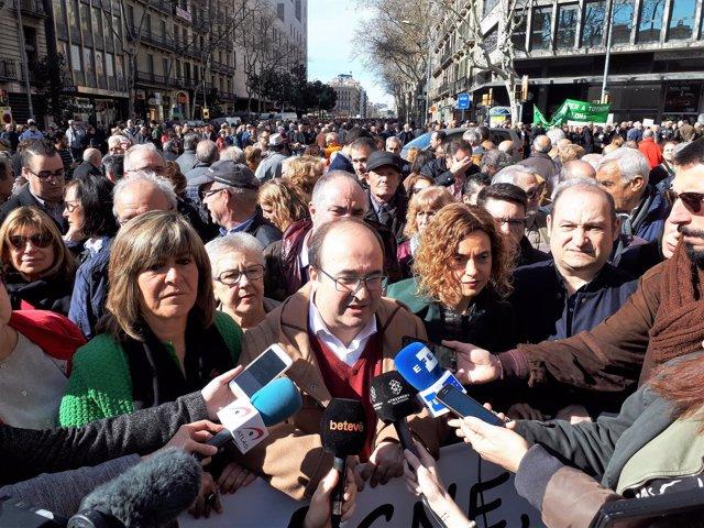 Miquel Iceta, primer secretario del PSC, en la manifestación de pensionistas