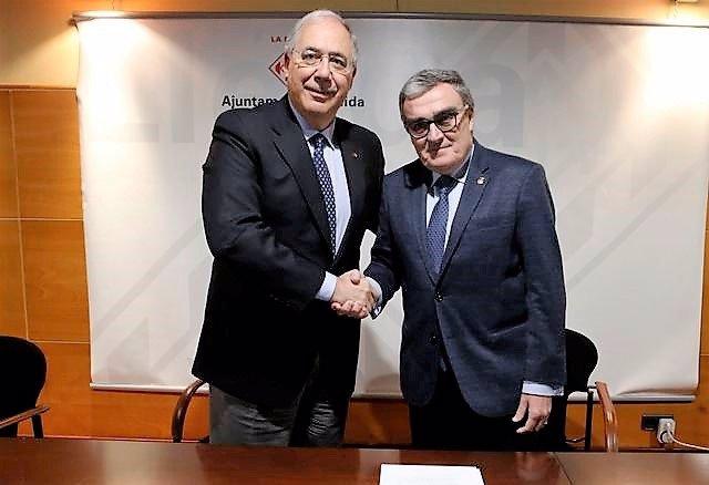 Rector de la UdL, Roberto Fernández; alcalde de Lleida, Àngel Ros