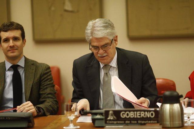 El ministro Alfonso Dastis y el diputado del PP Pablo Casado en el Congreso