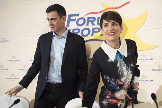 Los líderes del PSOE, Pedro Sánchez, y del PSN, María Chivite