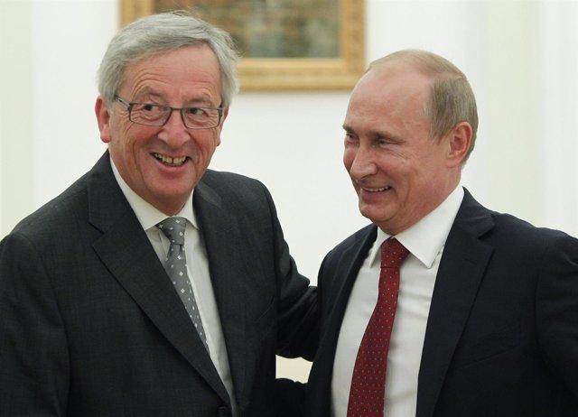 Jean-Claude Juncker y Vladimir Putin en septiembre de 2012
