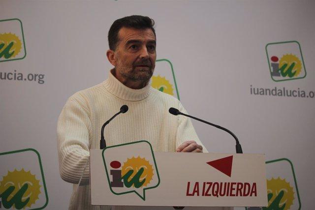 El coordinador general de IULV-CA, Antonio Maíllo, en rueda de prensa