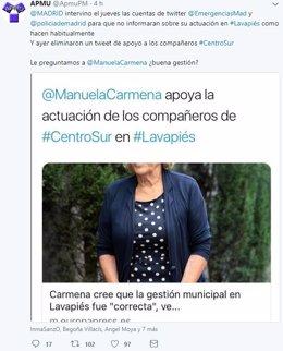 Tuit de APMU acusando al Ayuntamiento de controlar cuentas en twitter