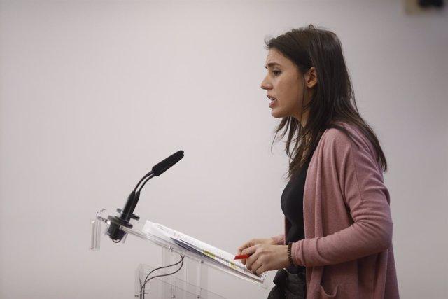 Rueda de prensa de la portavoz de Podemos en el Congreso, Irene Montero