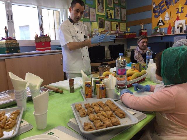 Taller de cocina para niños en el Hospital Virgen Macarena