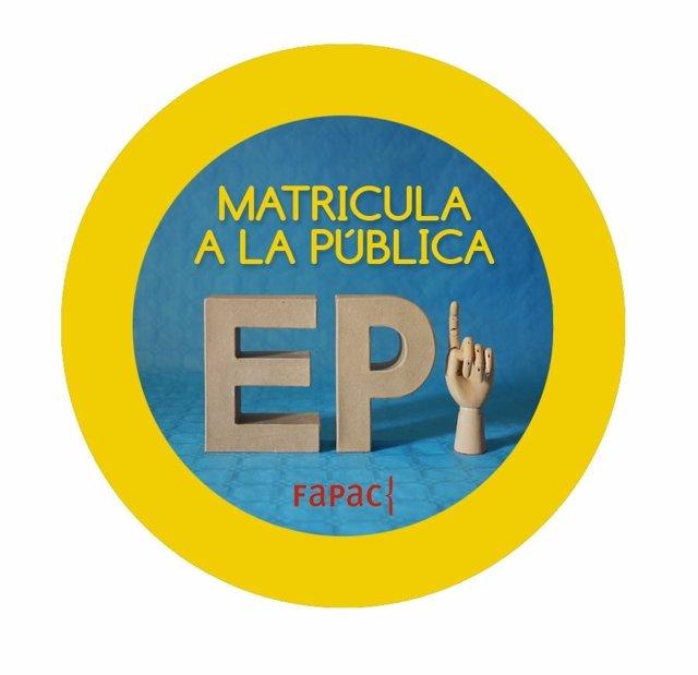 Cartel de la Fapac sobre 'Matricula a la Pública'