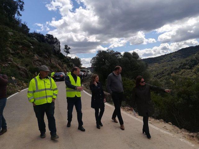 La presidenta de la Diputación de Cädiz visita carreteras dañadas por temporal