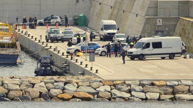 Dispositivo en el puerto de Blanes después de encontrar el cadáver