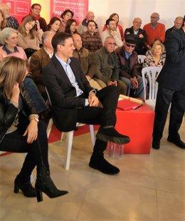 Pedro Sánchez en un acto en La Línea
