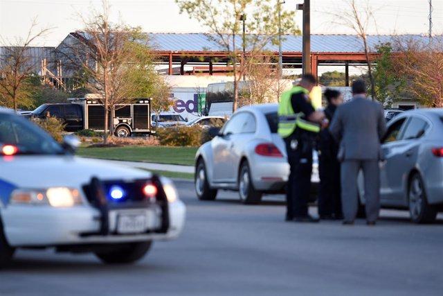 Lugar de la explosión en una oficina de la compañía FedEx en Texas