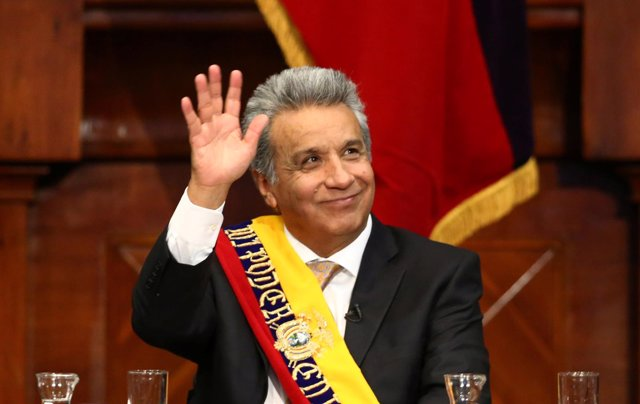 Ecuador's President Lenin Moreno waves during the inauguration ceremony at the N