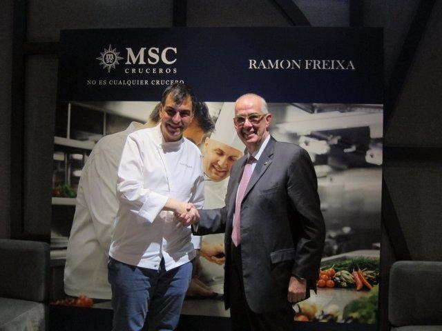Ramón Freixa y el presidente de MSC Cruceros, Emiliano González