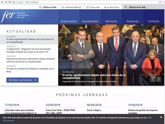 Imagen de la página web de la FER