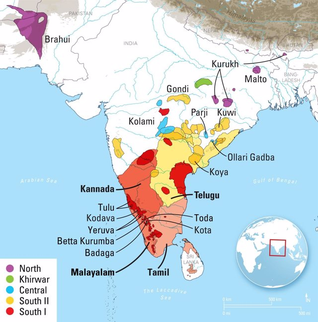 Mapa de lenguas drávidas en la India