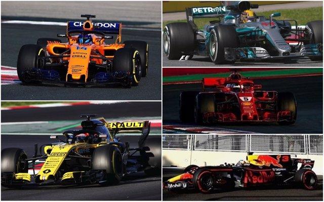 Montaje para el inicio del Mundial 2018 de Fórmula 1