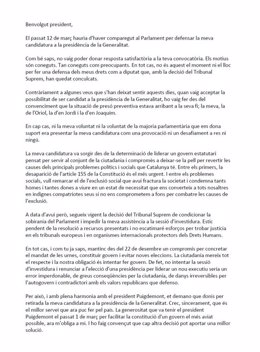 Carta de Jordi Sànchez (JxCat) al presidente del Parlament