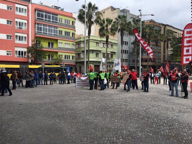 Concentración de trabajadores de Endesa en Canarias