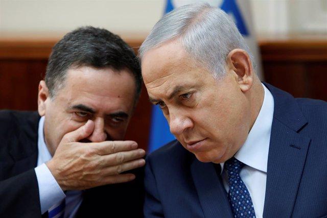 Foto de archivo de Benyamin Netanyahu y Yisrael Katz