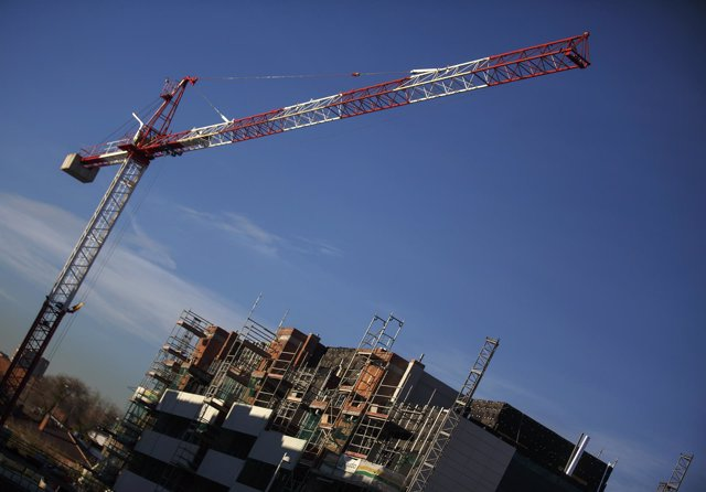 A general view shows a construction site of a residential block in the Valdebeba