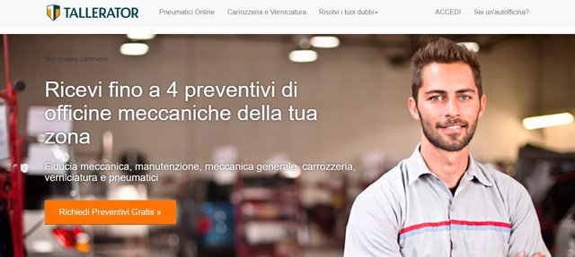 Imagend de la web de Tallerator en Italia