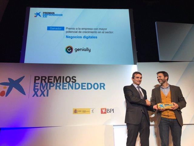 La empresa 'Genially' recibe el Premio Emprendedor XXI
