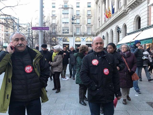 El secretario general de UGT, Pepe Álvares y el de Aragón, Daniel Alastuey