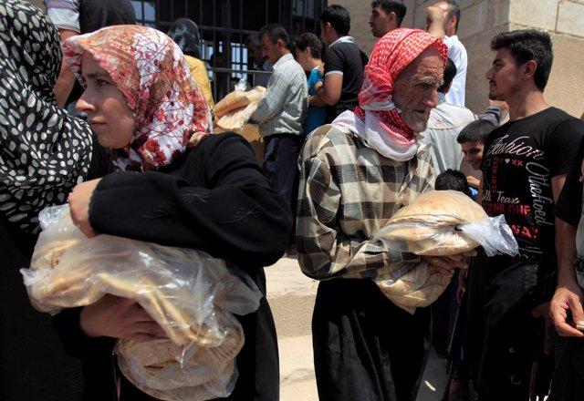 Foto de archivo de desplazados sirios en Idlib.