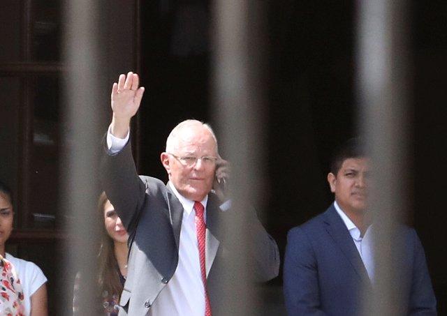 Peru's President Pedro Pablo Kuczynski leaves Government Palace after presenting