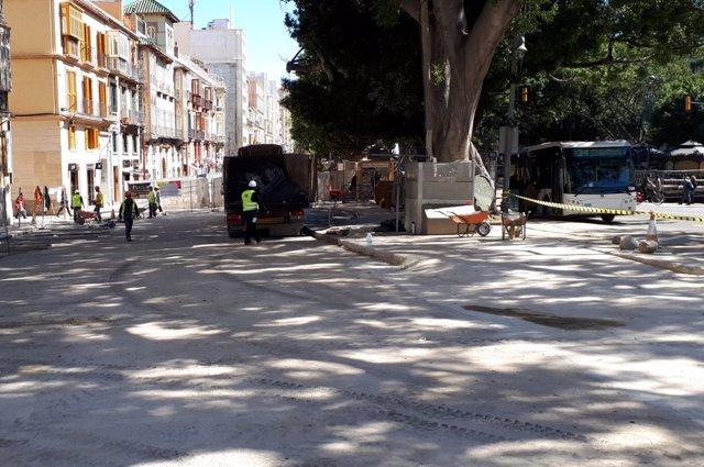 Losa de hormigonado en Alameda Principal para el paso de los tronos obras metro