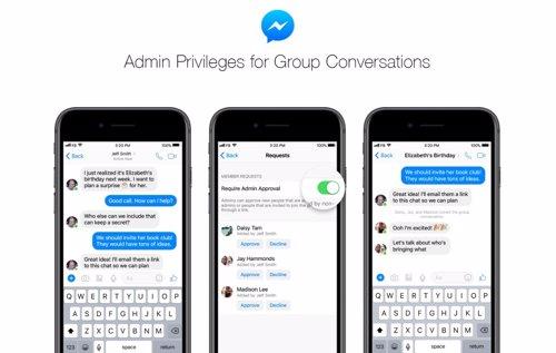 Facebook Messenger introduce un sistema de privilegios de administrador para sus chats en grupo