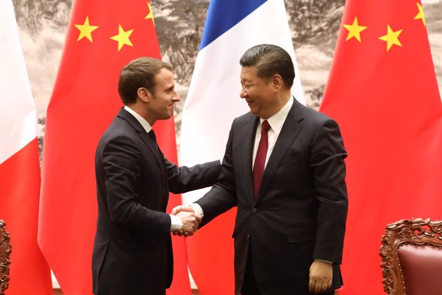 Emmanuel Macron y Xi Jinping